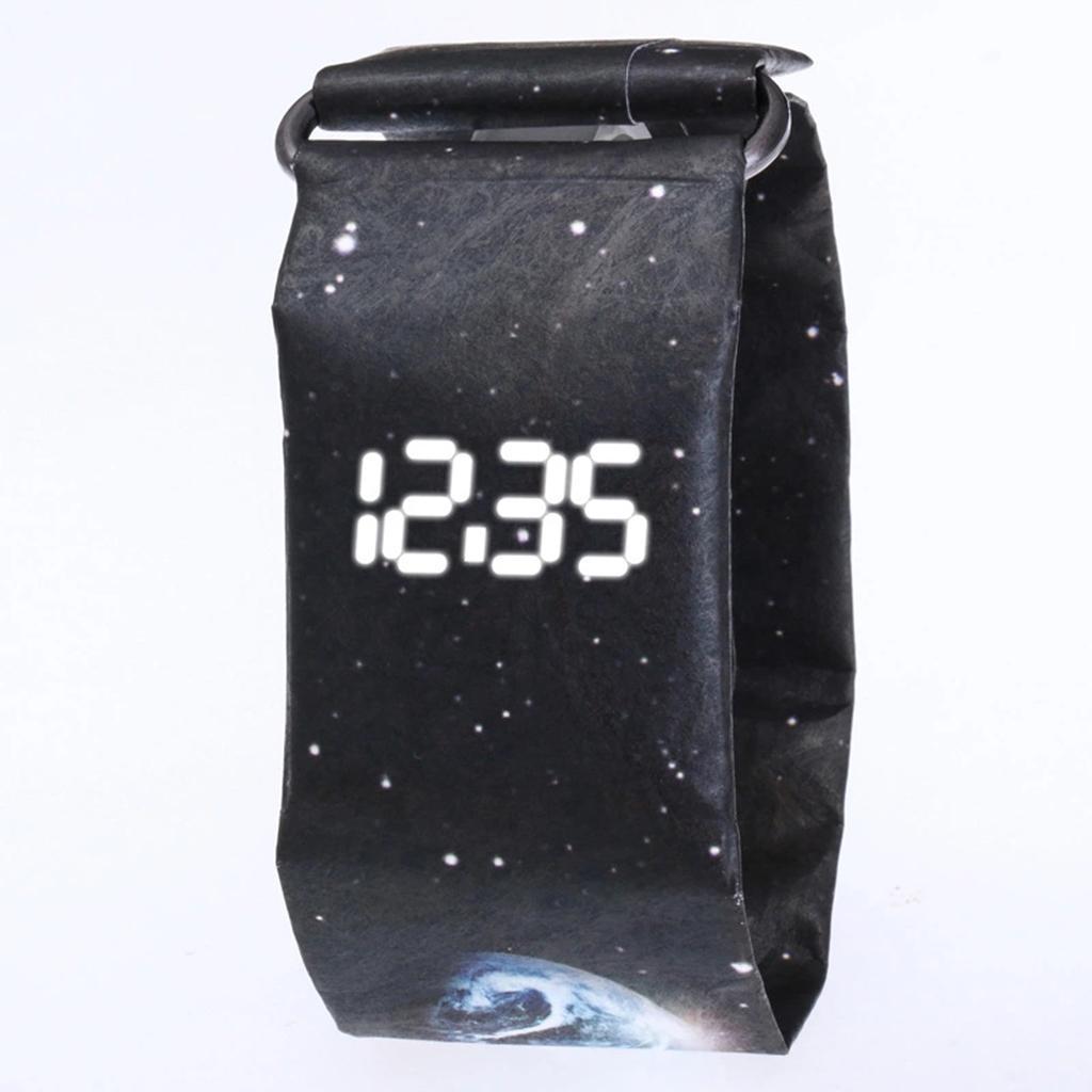 Newspaper-White-LED-Digital-Watch-Mens-Women-Waterproof-Strap-Paper-Sport miniature 78