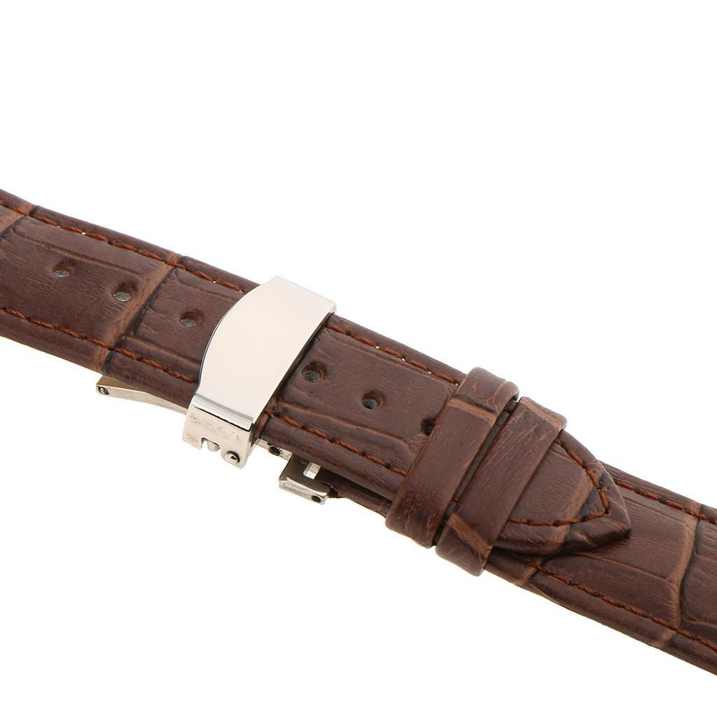Genuine-Leather-Watch-Strap-Band-18-20-22mm-With-Butterfly-Deployment-Clasp thumbnail 15