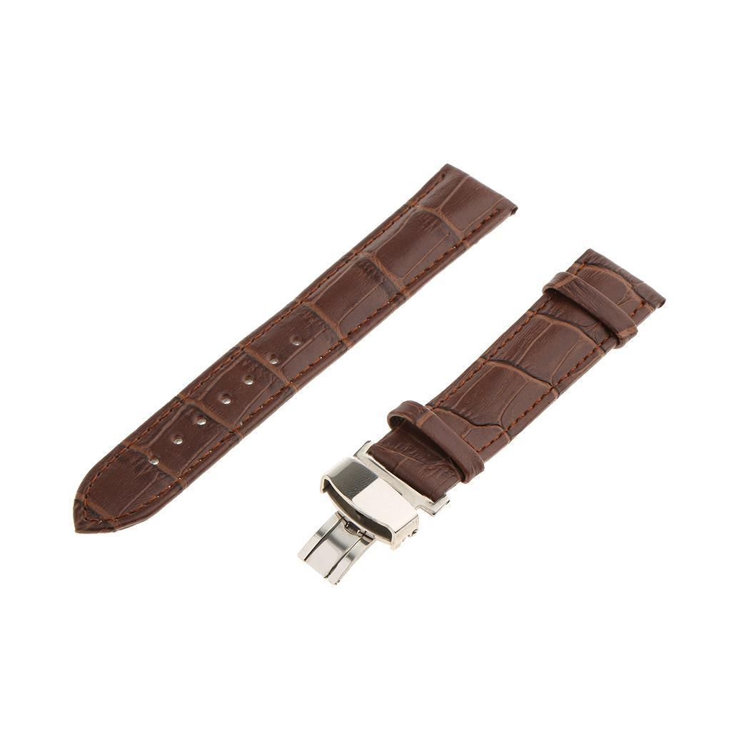 Genuine-Leather-Watch-Strap-Band-18-20-22mm-With-Butterfly-Deployment-Clasp thumbnail 16