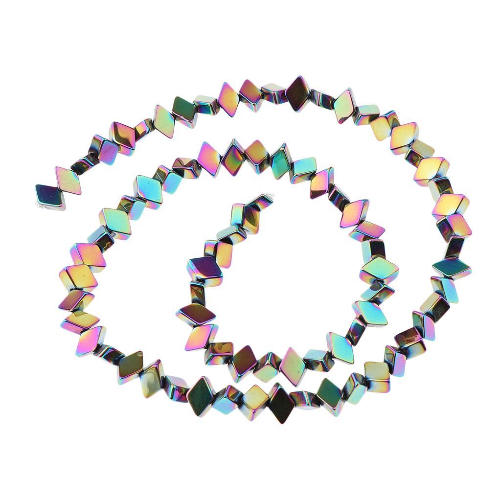 Natural Hematite Gemstone Spacer Beads Rhombus Beads Rainbow Colors 16 Inch