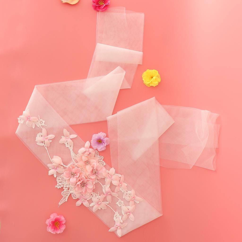 Fashion Flower Tulle Headband Wrap Scarf Ties Woman Bridal Lace Hair Accessories