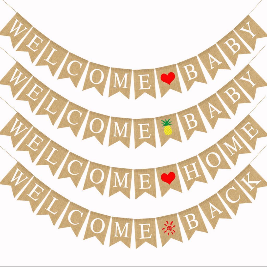 Indexbild 10 - Vintage Jute Hessian Bunt Banner Wimpelgirlande Wimpelkette für Familienparty