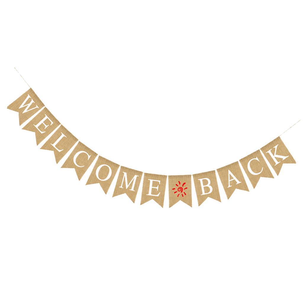 Indexbild 11 - Vintage Jute Hessian Bunt Banner Wimpelgirlande Wimpelkette für Familienparty