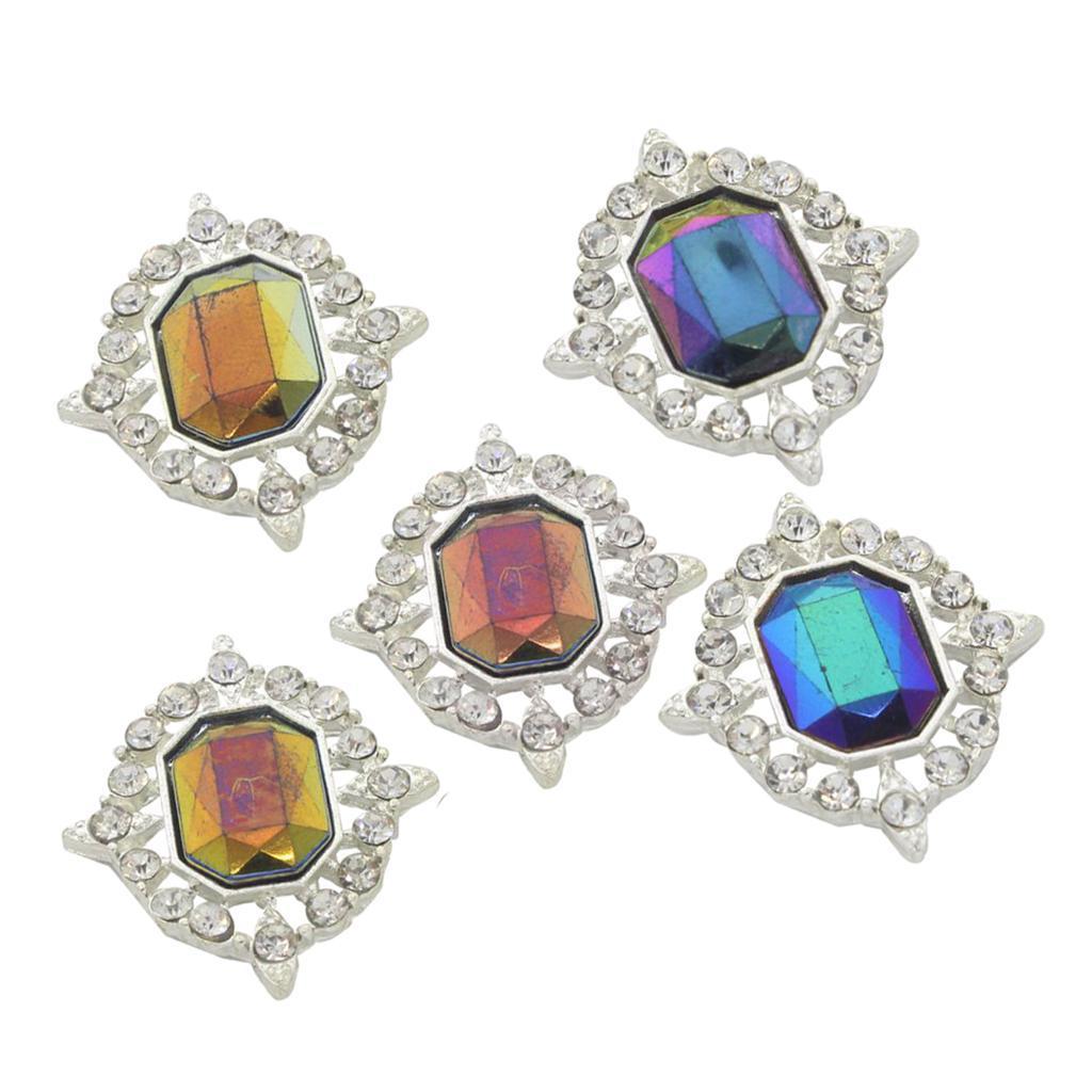 5-Pieces-Acrylique-plat-soutenu-Strass-Cabochons-Bijoux-Decoration miniature 26