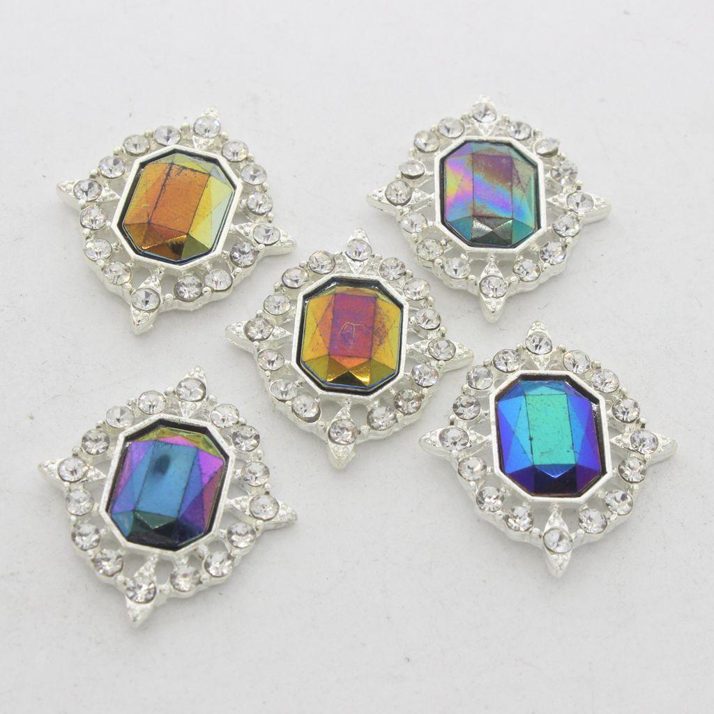 5-Pieces-Acrylique-plat-soutenu-Strass-Cabochons-Bijoux-Decoration miniature 27