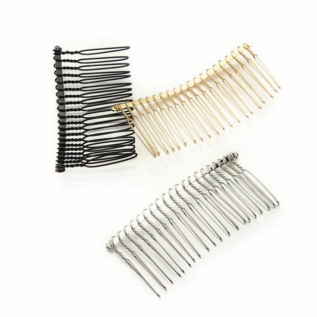 6pcs Blank Metal Hair Clips Side Comb 20 Teeth DIY Bridal Hair Accessories
