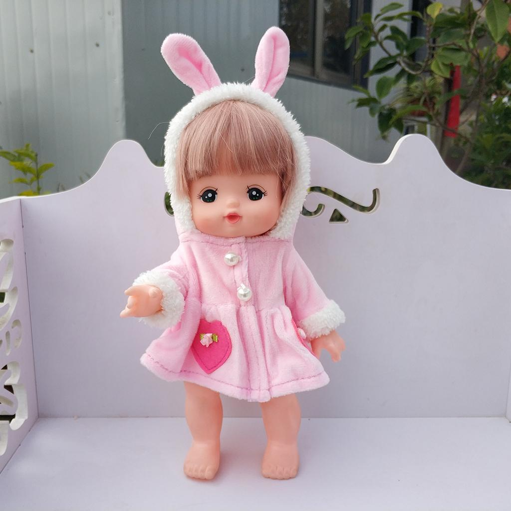 MagiDeal Lovely Plush Pink Coat, Snow Boots for Mellchan 9-11inch Baby Doll 1