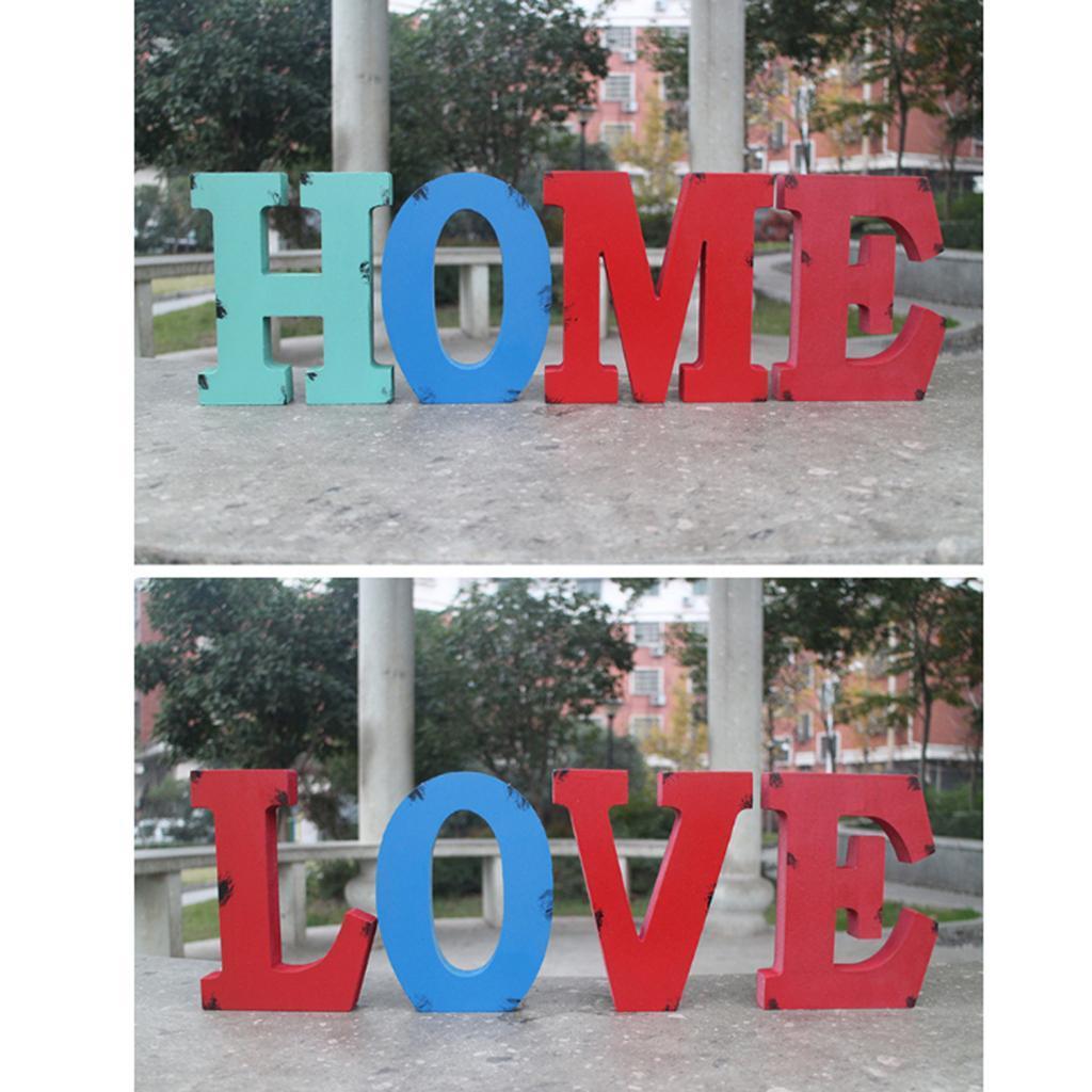A-Z Wooden Block Freestanding Alphabet Letters Words Party Wedding Home Decor