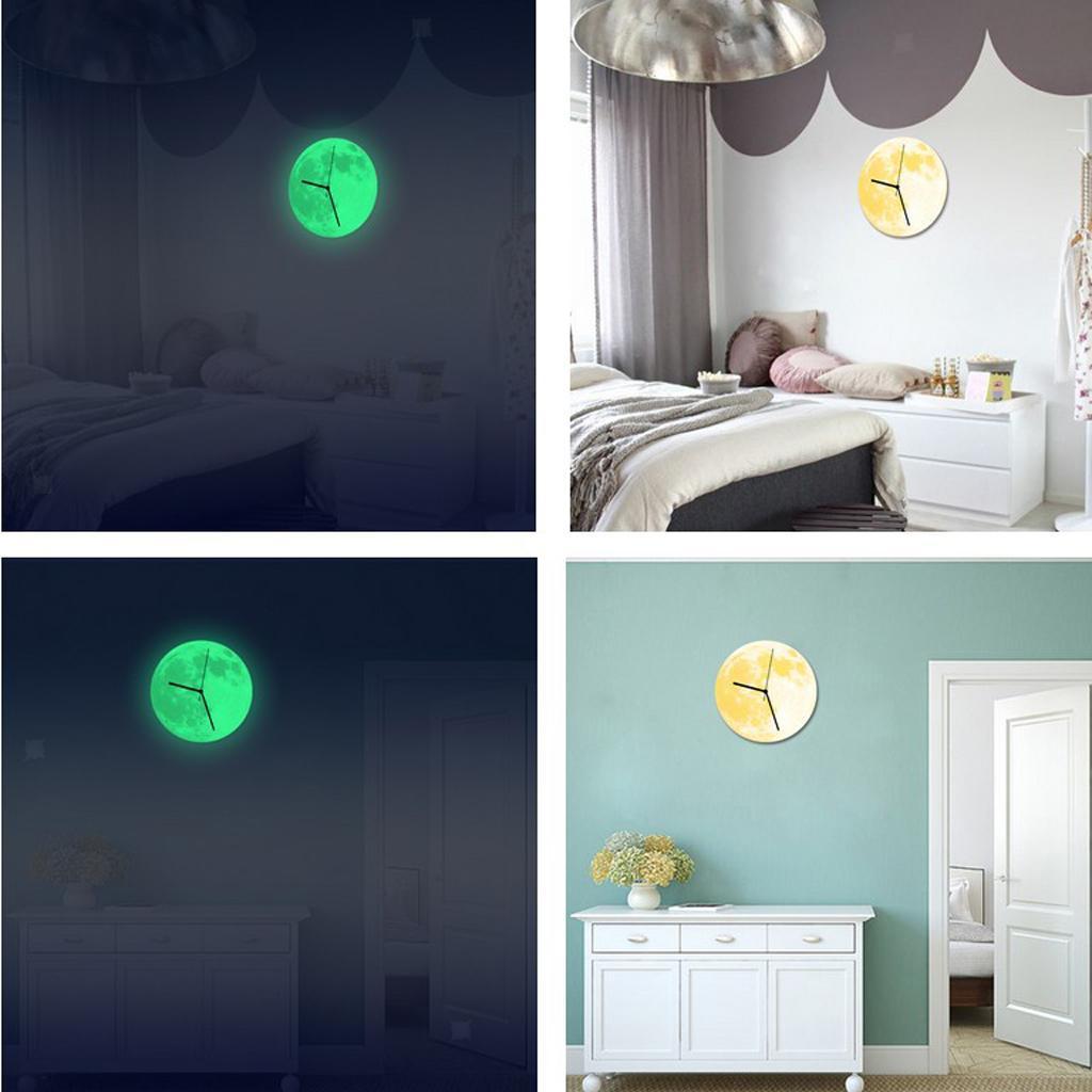 Indoor-Decorative-Wall-Clock-12inch-Luminous-Moon-Battery-Operated-Silent thumbnail 12