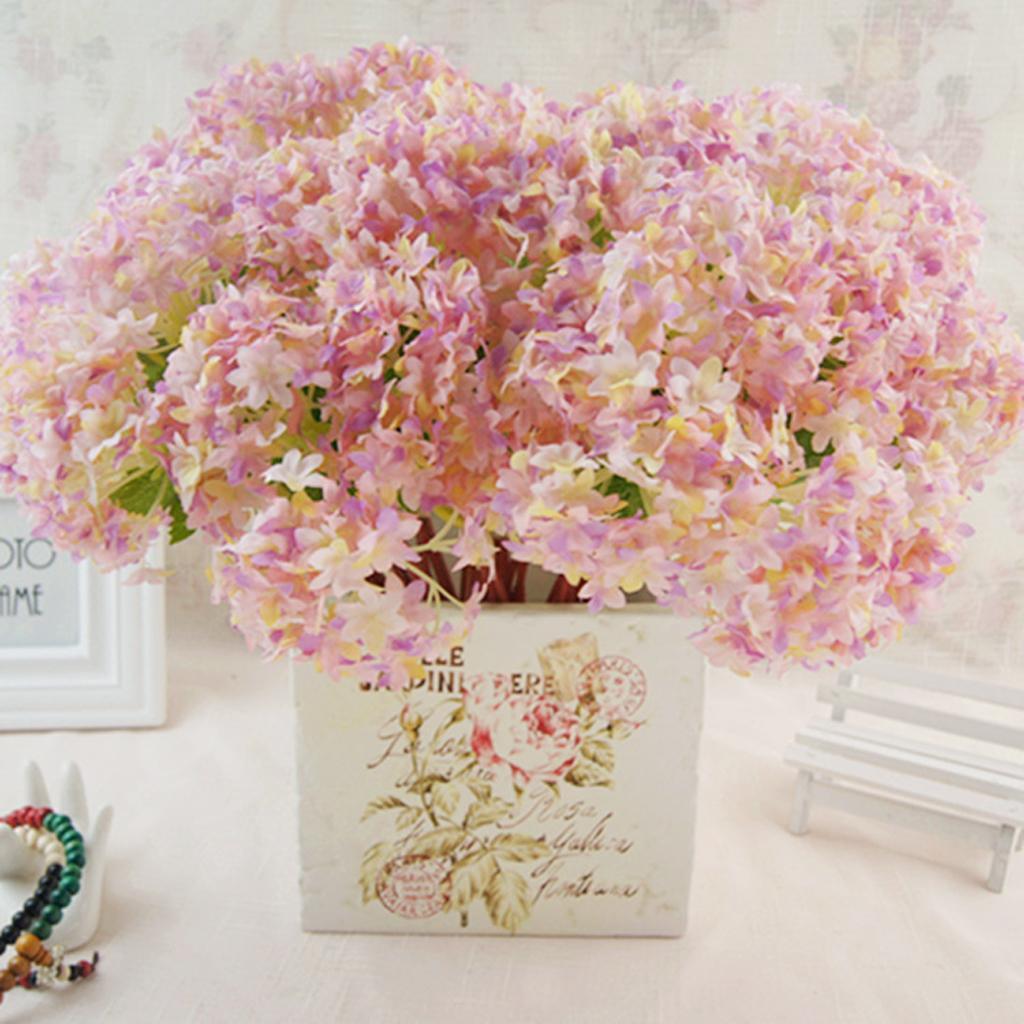 Mini-Bouquet-Artificiel-Faux-Soie-Hortensia-Fleurs-Mariage-Anniversaire miniature 22