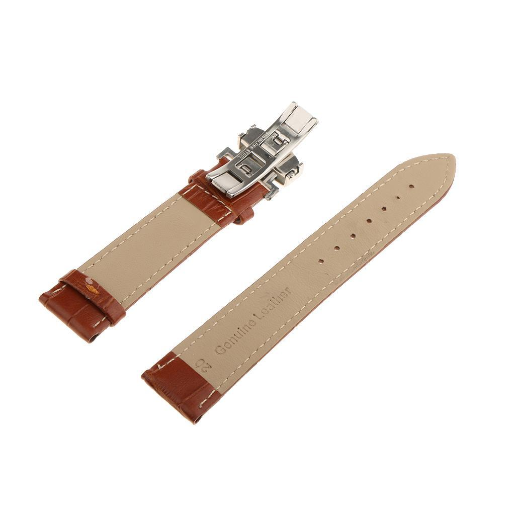 Genuine-Leather-Watch-Strap-Band-18-20-22mm-With-Butterfly-Deployment-Clasp thumbnail 18