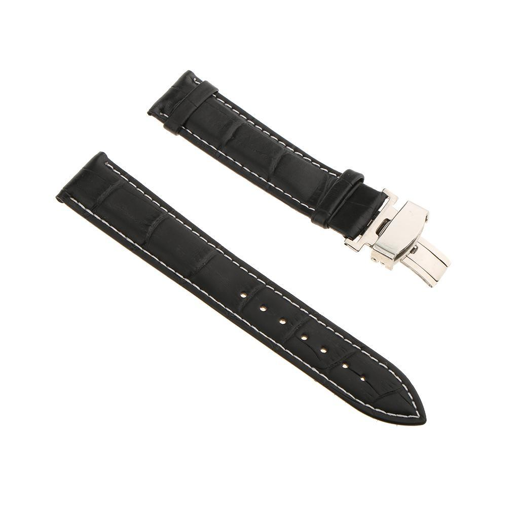Genuine-Leather-Watch-Strap-Band-18-20-22mm-With-Butterfly-Deployment-Clasp thumbnail 30