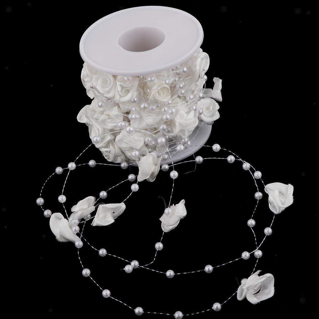 10m Rose Flower Pearls Beads String Roll Wedding Bridal