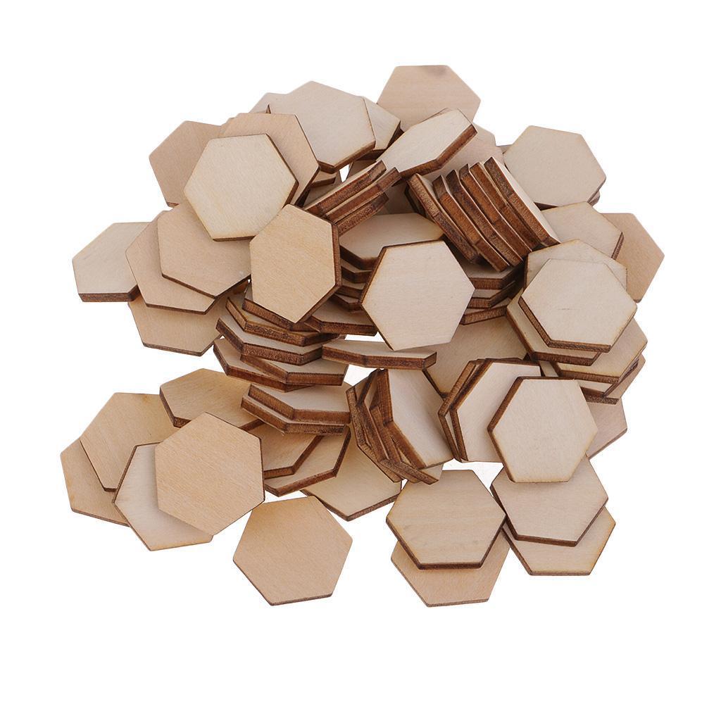 Indexbild 17 - 50-100-200-Stueck-Charming-Hexagon-Shaped-MDF-Holz-Schnitt-Holz