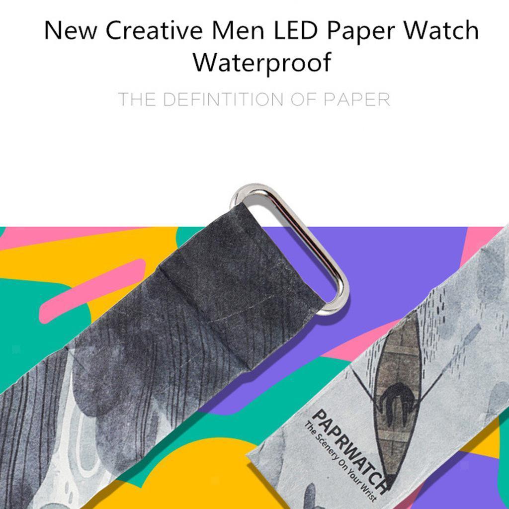 Newspaper-White-LED-Digital-Watch-Mens-Women-Waterproof-Strap-Paper-Sport miniature 9