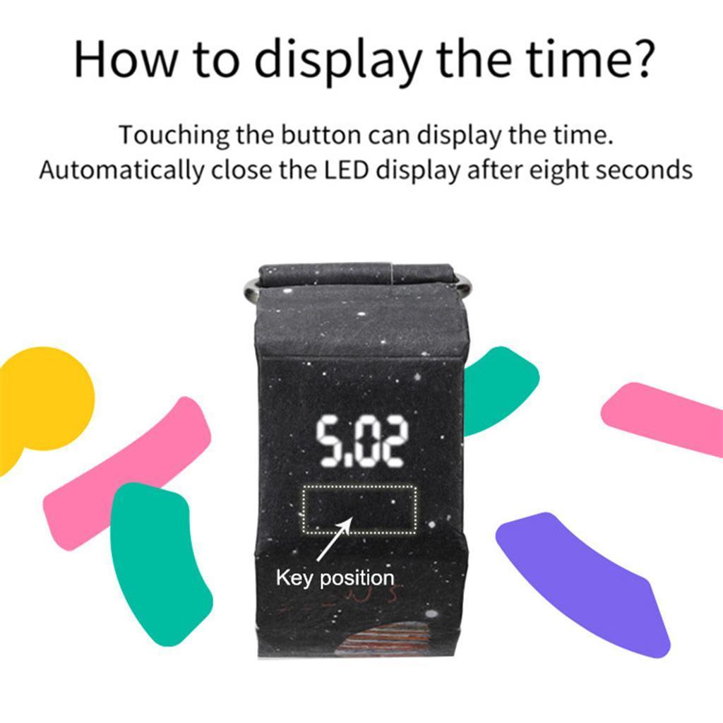 Newspaper-White-LED-Digital-Watch-Mens-Women-Waterproof-Strap-Paper-Sport miniature 10