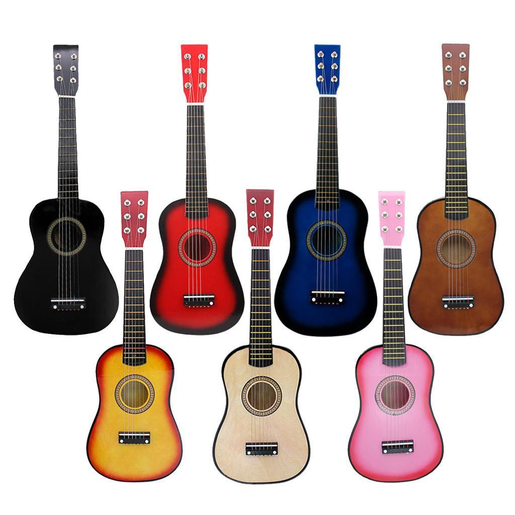 Legno-massello-lucido-21-pollici-6-String-chitarra-MINI-CHITARRA-ACUSTICA-giocattoli-Set miniatura 3