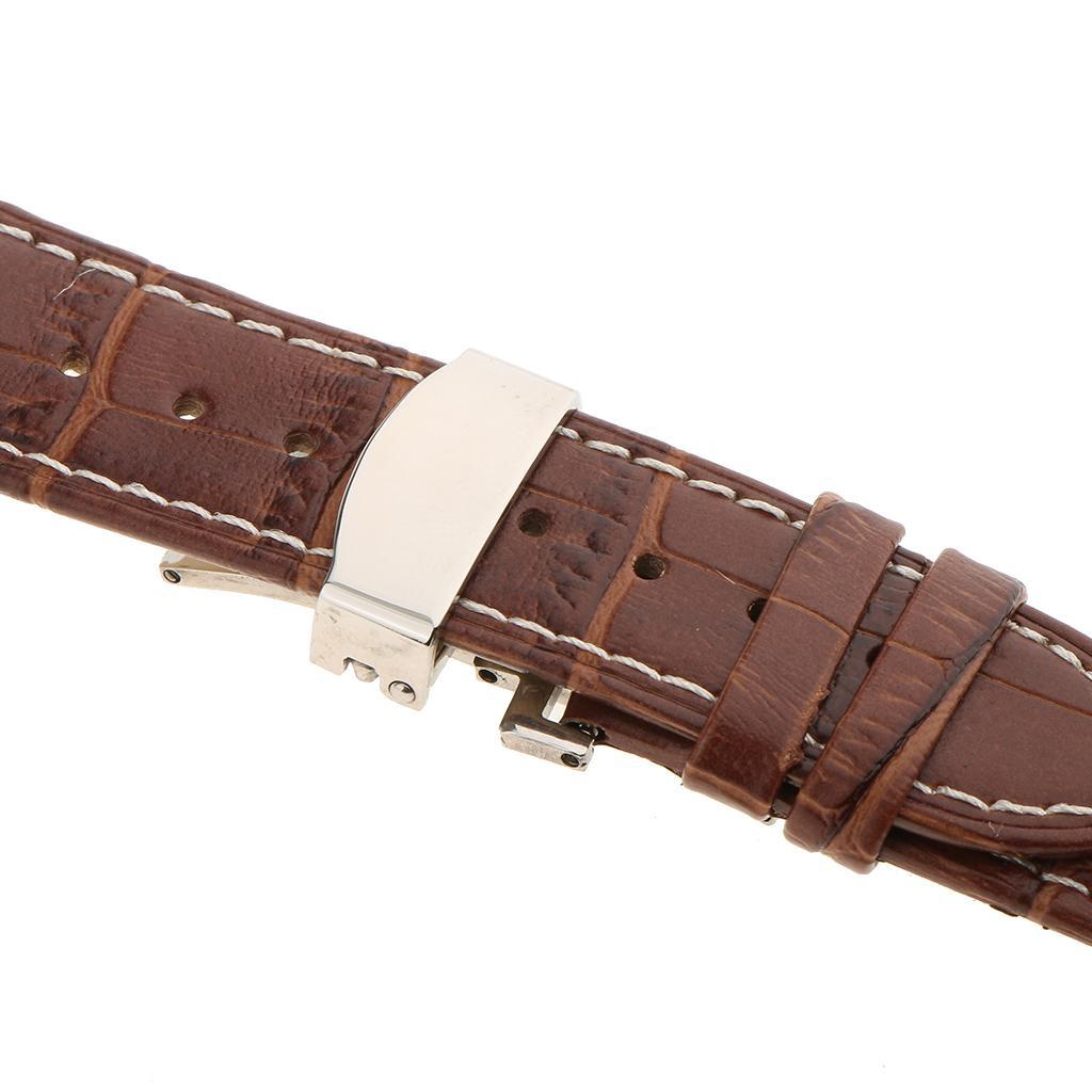 Genuine-Leather-Watch-Strap-Band-18-20-22mm-With-Butterfly-Deployment-Clasp thumbnail 33