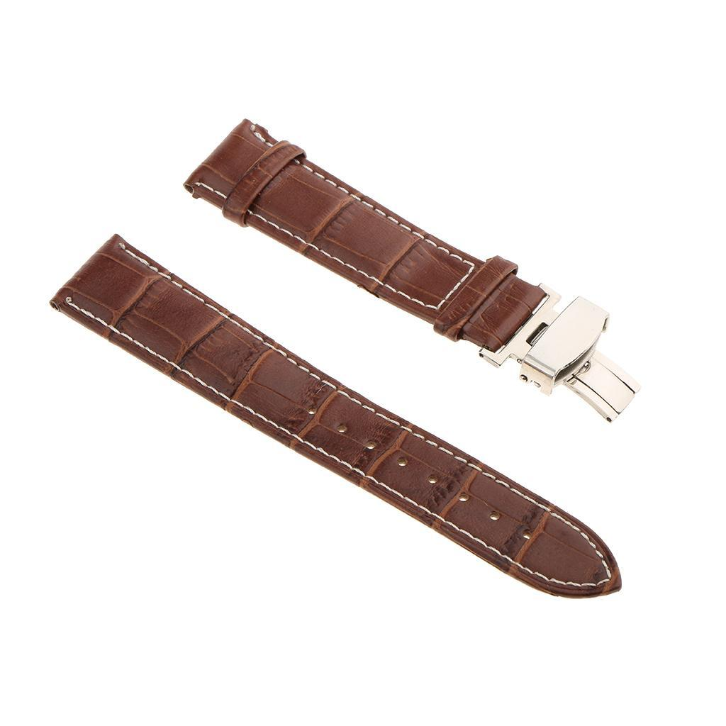 Genuine-Leather-Watch-Strap-Band-18-20-22mm-With-Butterfly-Deployment-Clasp thumbnail 34