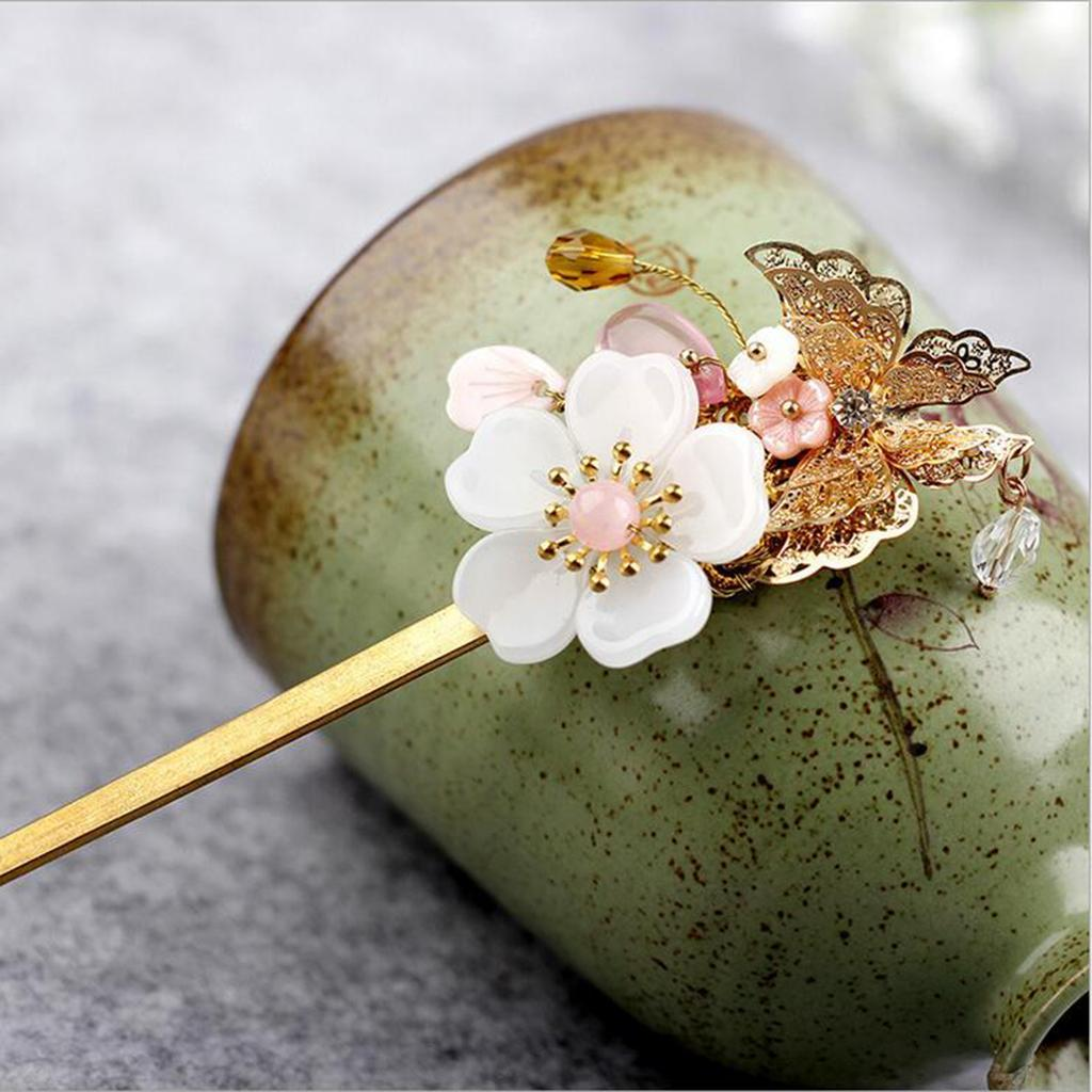 Retro-Floral-Flower-Bead-Hair-Stick-Hairpin-Ancient-Chinese-Japanese-Chignon thumbnail 4