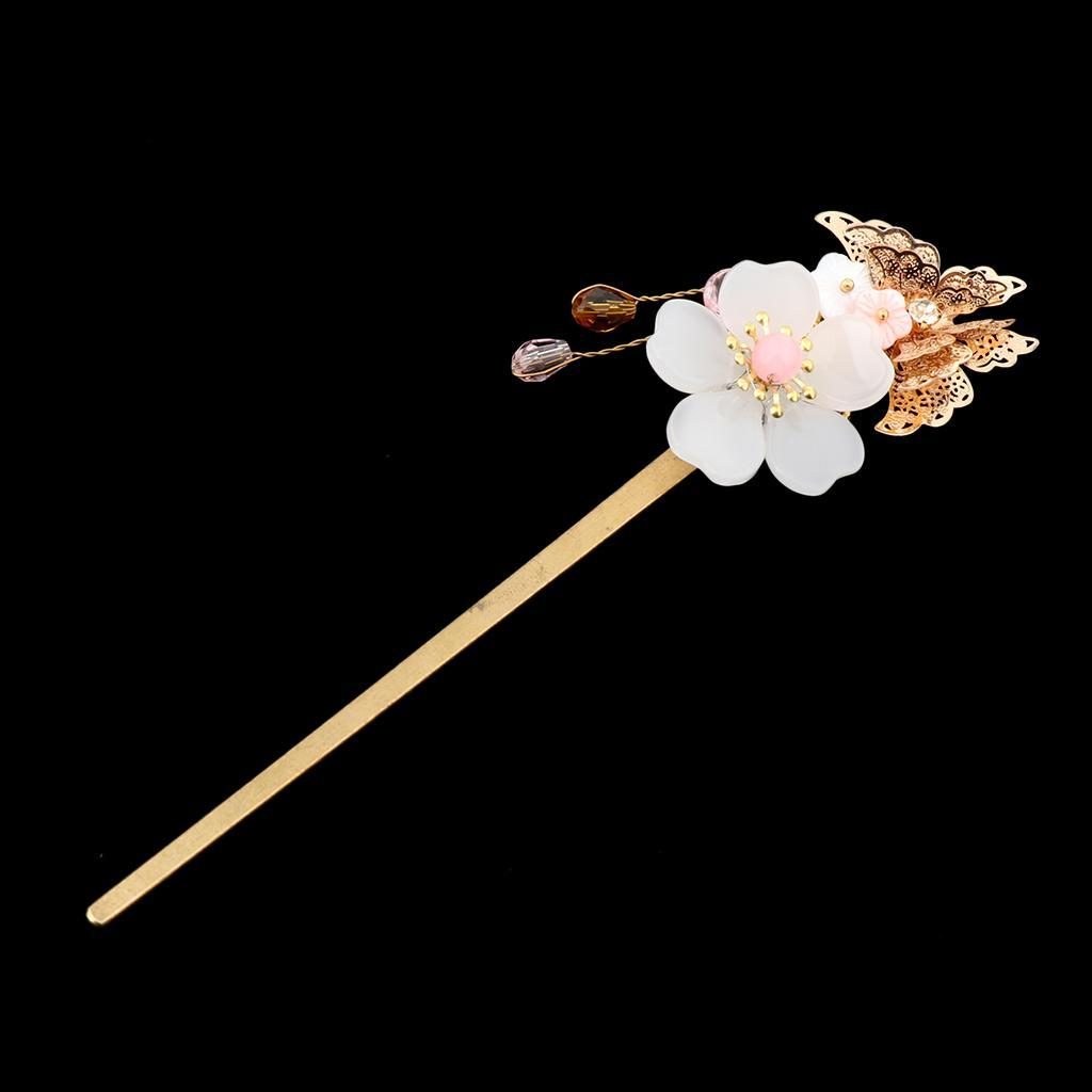 Retro-Floral-Flower-Bead-Hair-Stick-Hairpin-Ancient-Chinese-Japanese-Chignon thumbnail 5