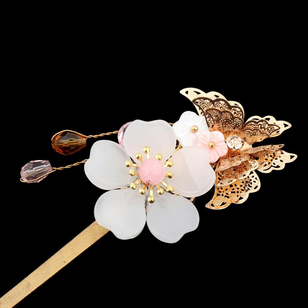 Retro-Floral-Flower-Bead-Hair-Stick-Hairpin-Ancient-Chinese-Japanese-Chignon thumbnail 3