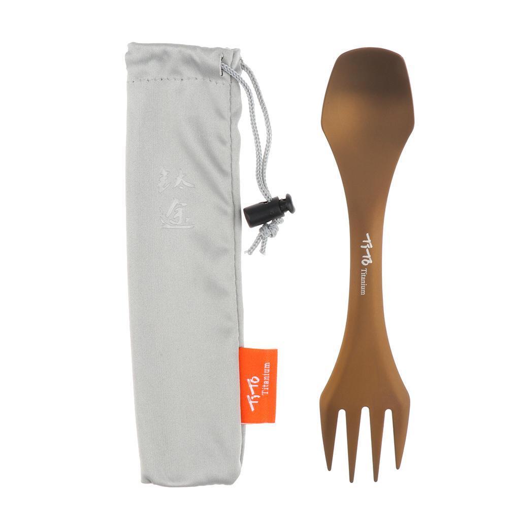 Outdoor Camping Tableware Titanium Spoon Fork Folding Spork Dinner UtensilXBH9H
