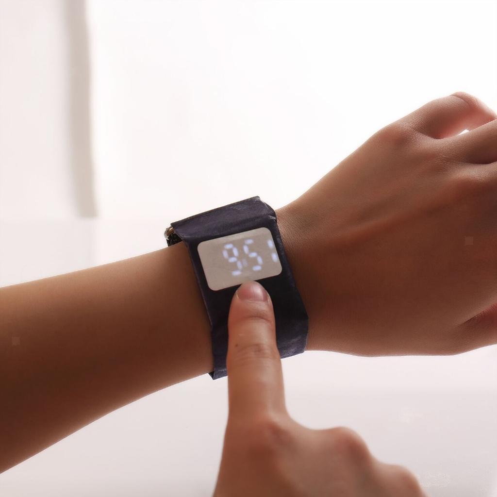 Newspaper-White-LED-Digital-Watch-Mens-Women-Waterproof-Strap-Paper-Sport miniature 40