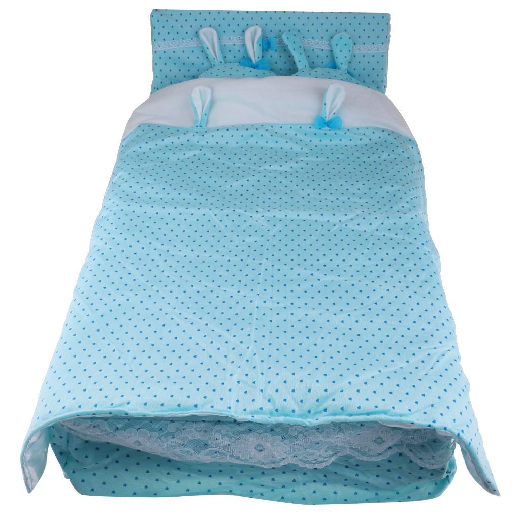1 3 Mini Fee Puppe blau gepunktete Bett mit Bettwäsche für BJD Puppe DIY