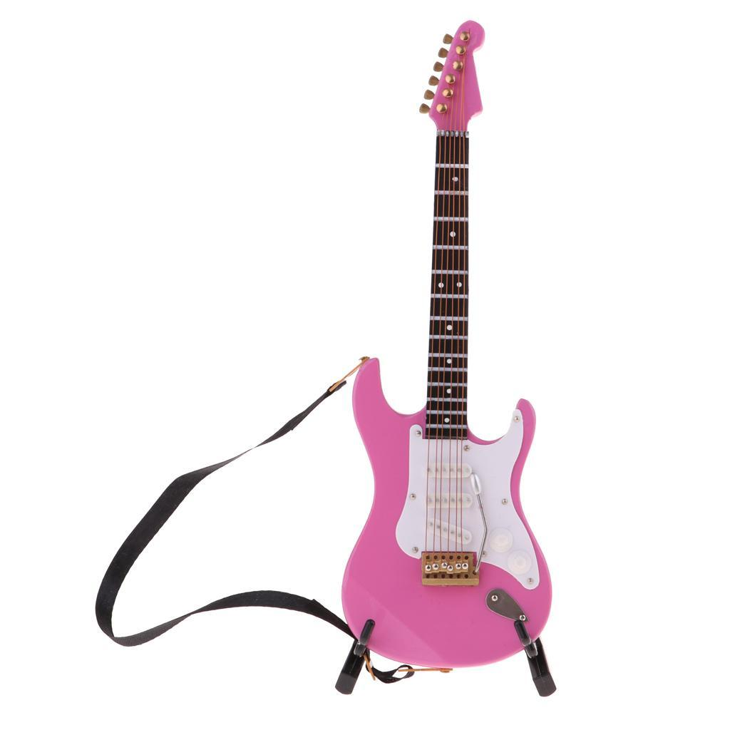1/6 Rosa Holz E Gitarre Akustische Bass Gitarre Spielzeug Miniatur Ornament