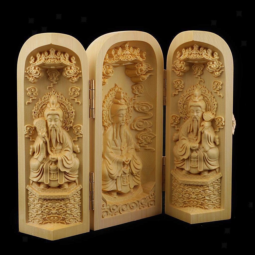 thumbnail 22 - Buddha Statue Carved Locker Box Sculpture Decoration Made of Boxwood