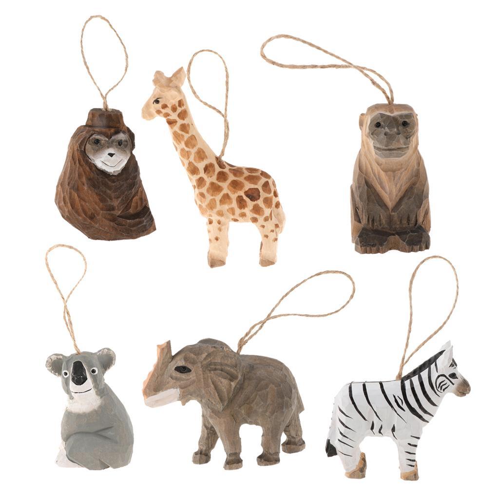 6pcs Hand Carved Black Bear Wooden Wood Animal Figurines Sculpture Art Craft