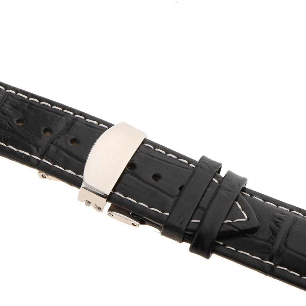 Genuine-Leather-Watch-Strap-Band-18-20-22mm-With-Butterfly-Deployment-Clasp thumbnail 36