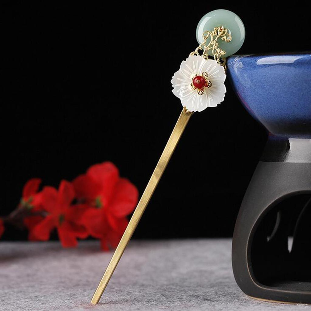Retro-Floral-Flower-Bead-Hair-Stick-Hairpin-Ancient-Chinese-Japanese-Chignon thumbnail 9