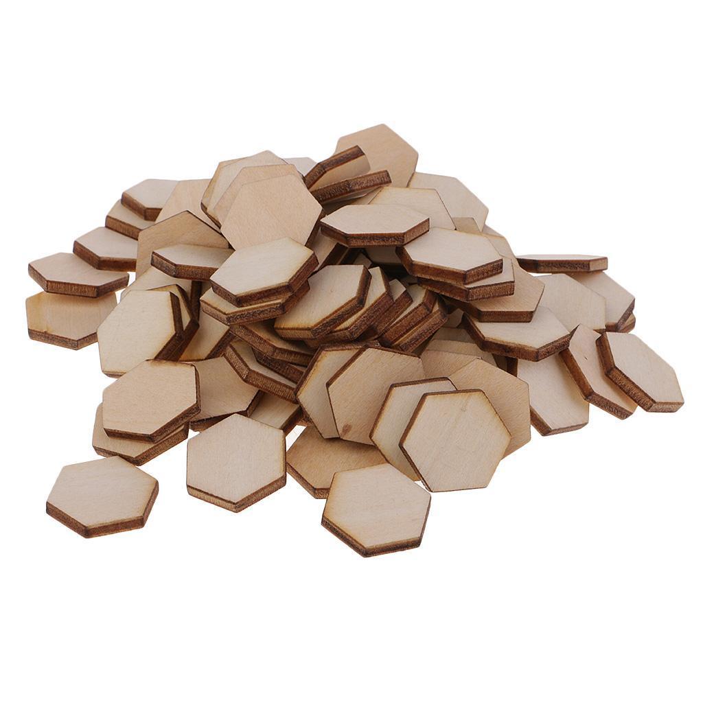 Indexbild 23 - 50-100-200-Stueck-Charming-Hexagon-Shaped-MDF-Holz-Schnitt-Holz