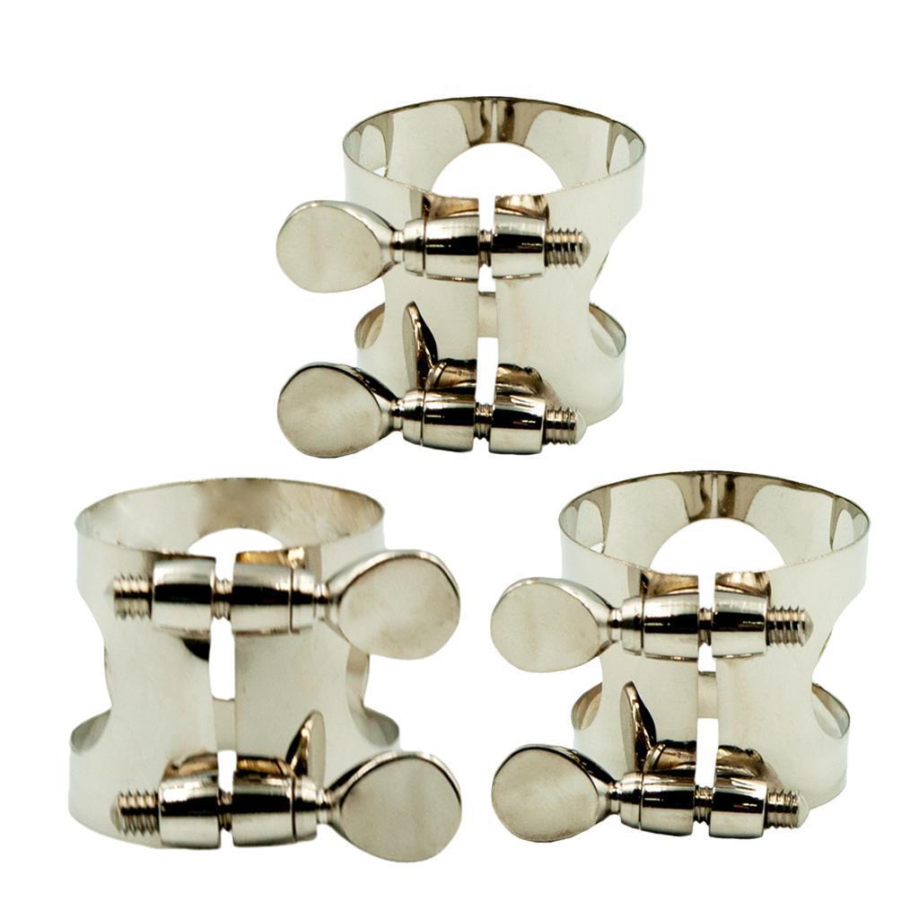 Soprano-Alto-Tenor-Saxophone-Silver-Clamp-Ligature-for-Sax-Mouthpiece-Parts thumbnail 4