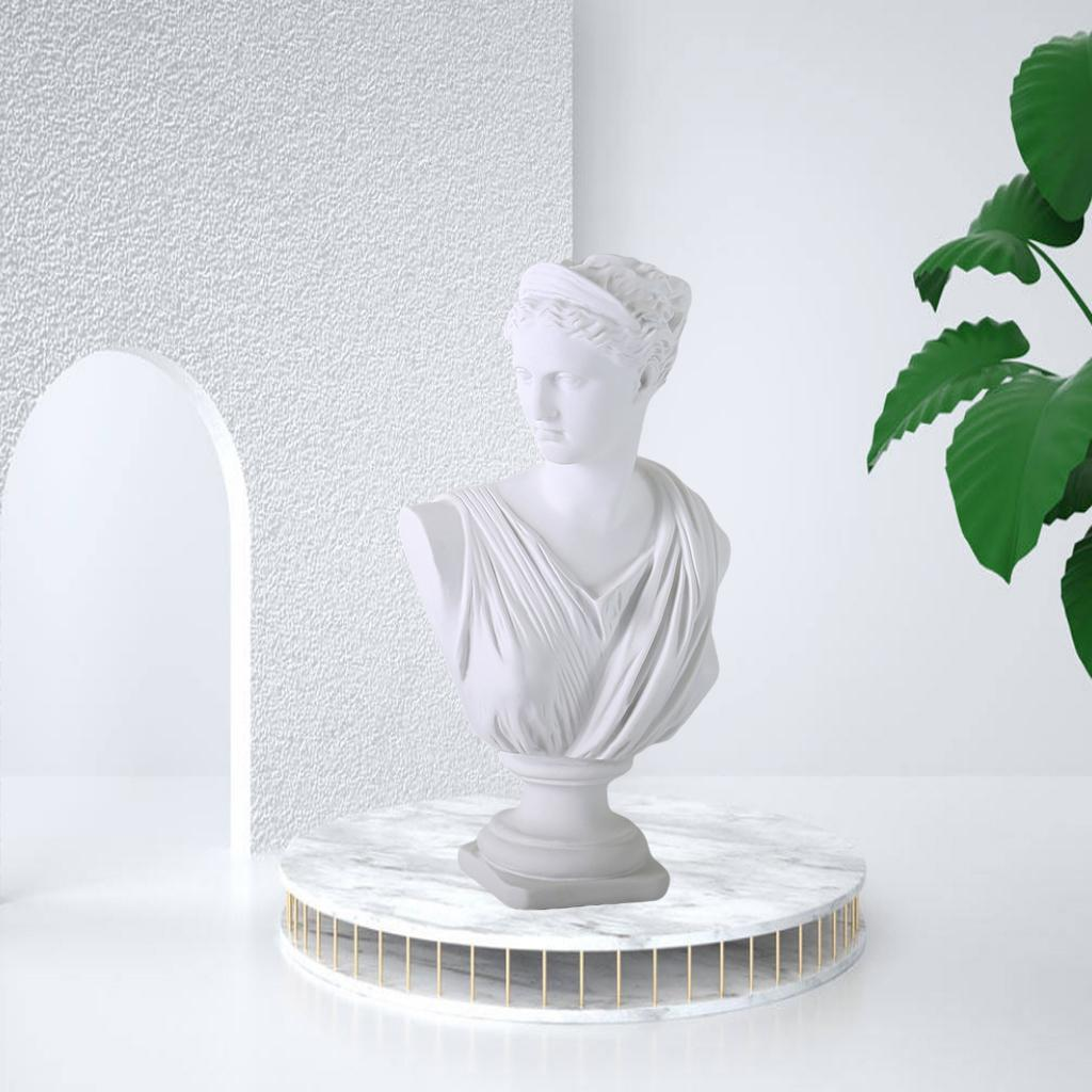 Diana Head Statue Bust Resin Greek Mythology Nordic Art Decor Sculpture White