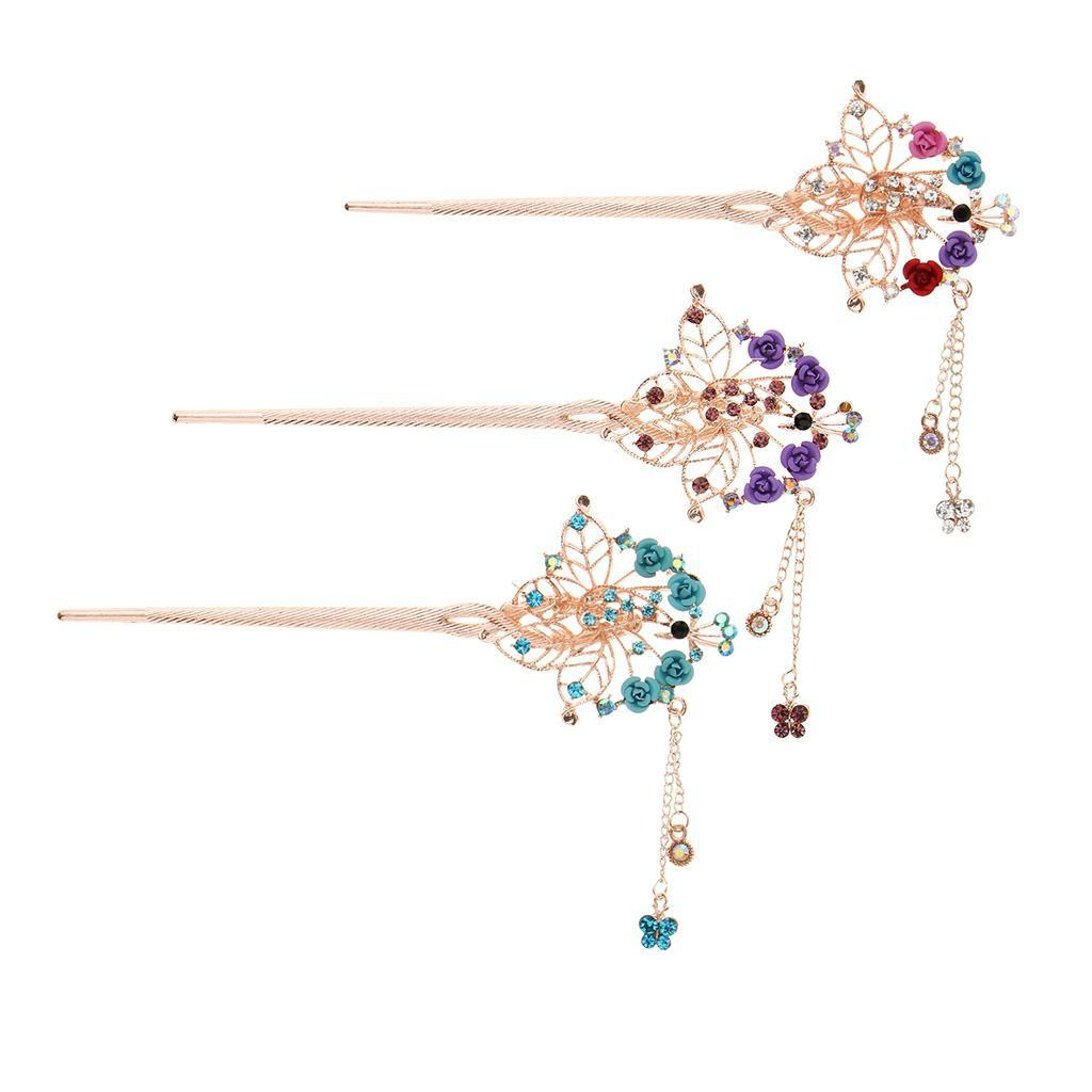Crystal Hair Stick Clip Chopsticks Bun Holder Metal Hairpin Chinese Style RE