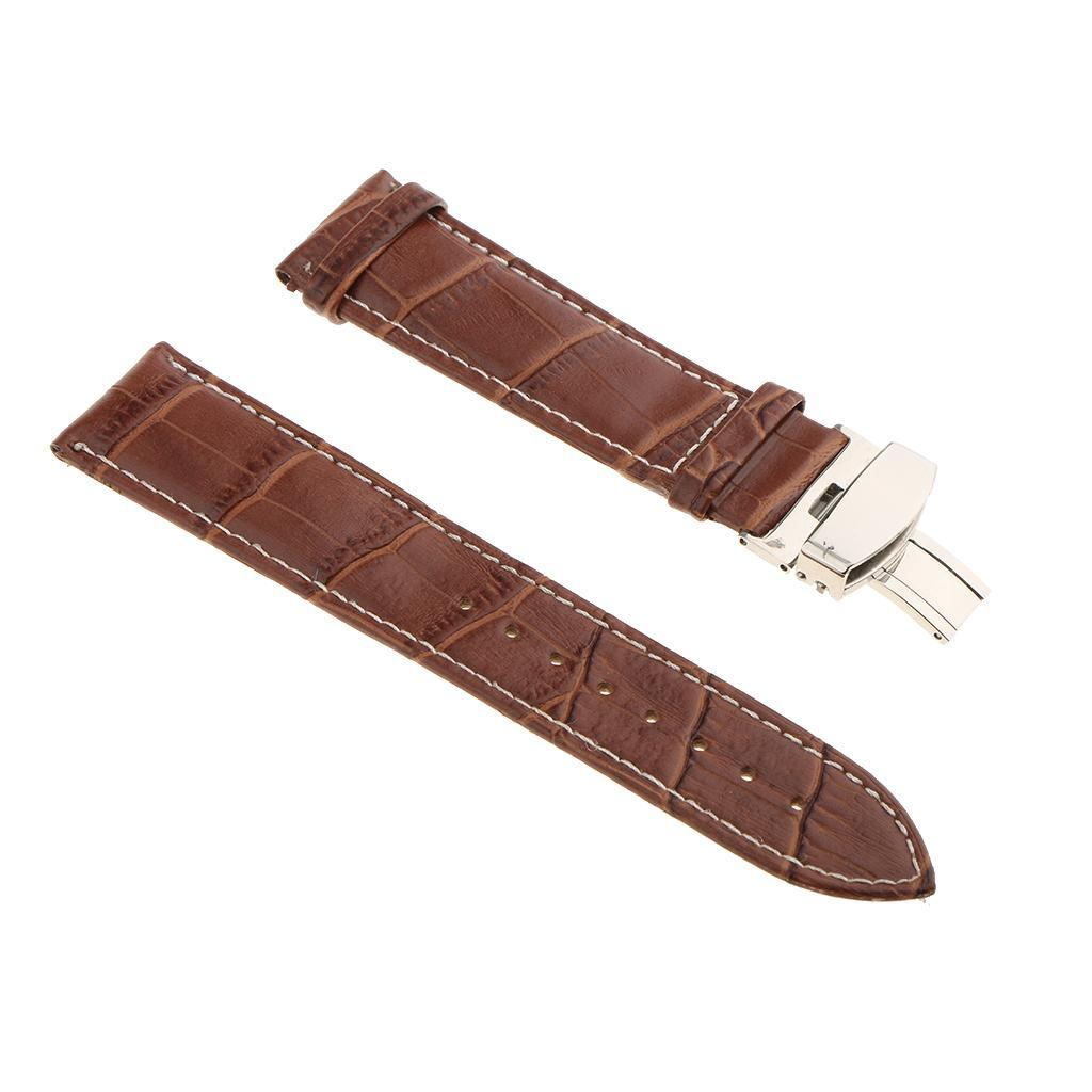 Genuine-Leather-Watch-Strap-Band-18-20-22mm-With-Butterfly-Deployment-Clasp thumbnail 40