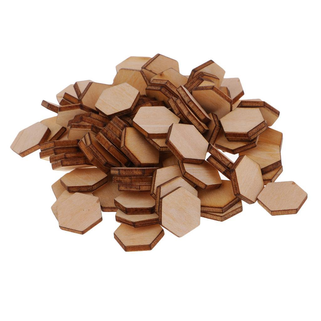 Indexbild 26 - 50-100-200-Stueck-Charming-Hexagon-Shaped-MDF-Holz-Schnitt-Holz