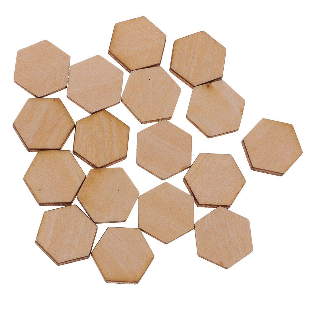 Indexbild 27 - 50-100-200-Stueck-Charming-Hexagon-Shaped-MDF-Holz-Schnitt-Holz
