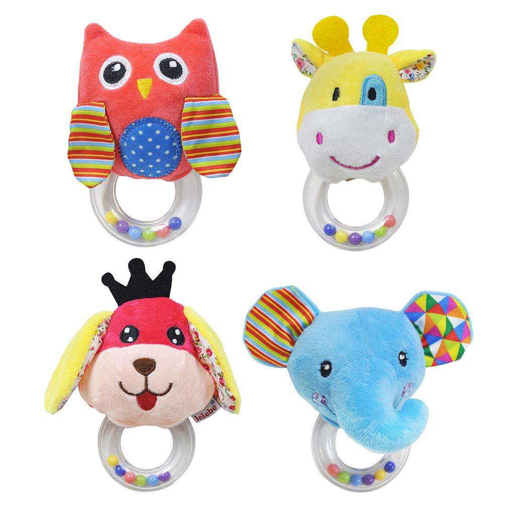 Baby Rattle Ring Wooden Handbell Baby Toys Musical Instruments for 0-12 zI