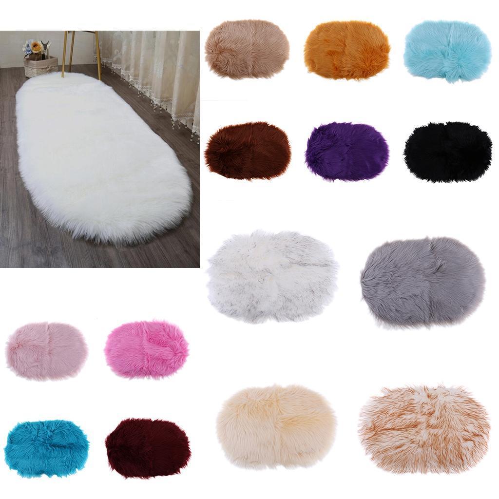 2Pcs Heart Fluffy Mat Rugs Soft Girls Boys Faux Fur